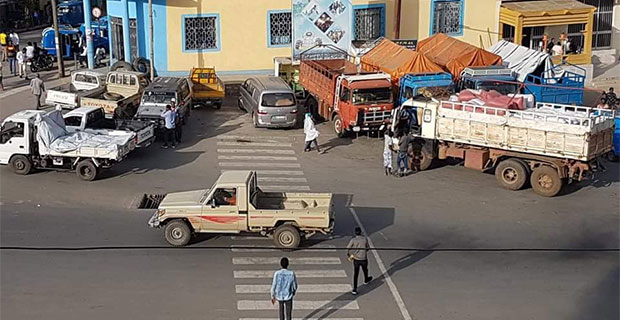 Trucks loaded with cement in Adigrat