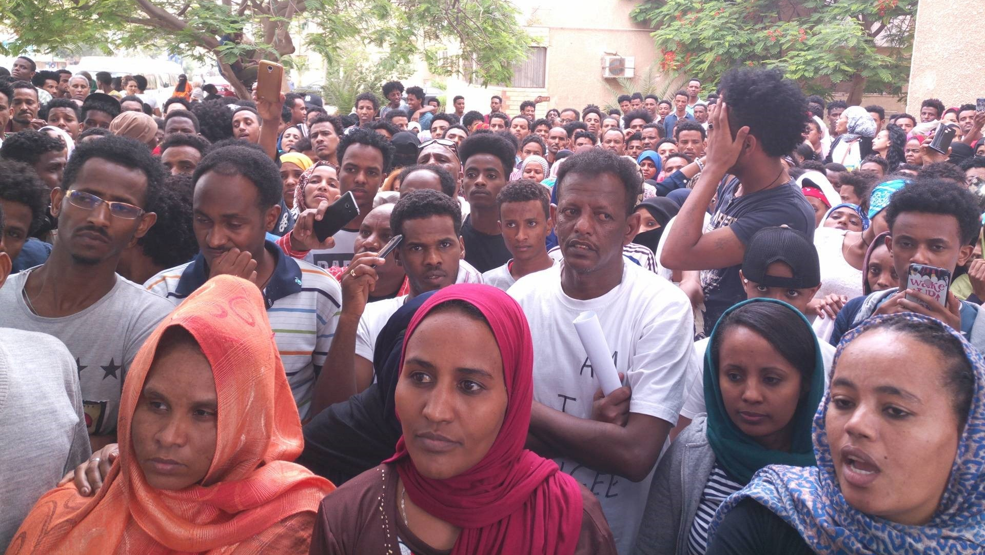 Eritreans demonstrating in Cairo, 2018